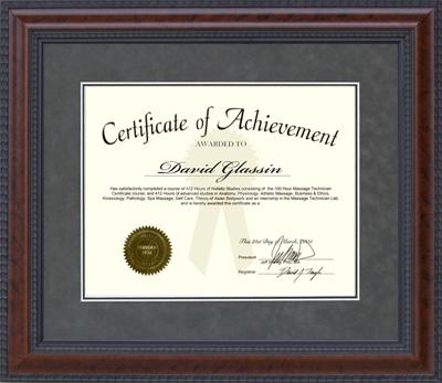 Burl Hardwood Designer Certificate Frame
