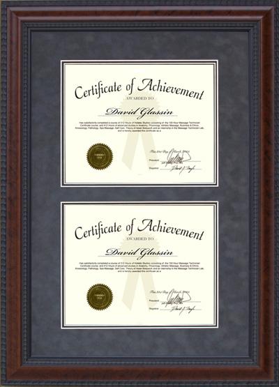 Burl Hardwood Double Certificate Frame