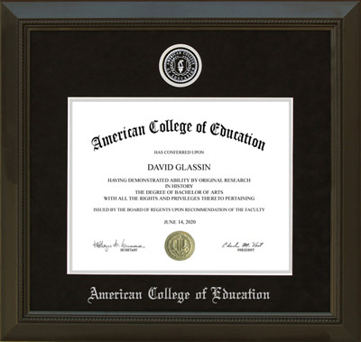 American College of Education Diploma Frame