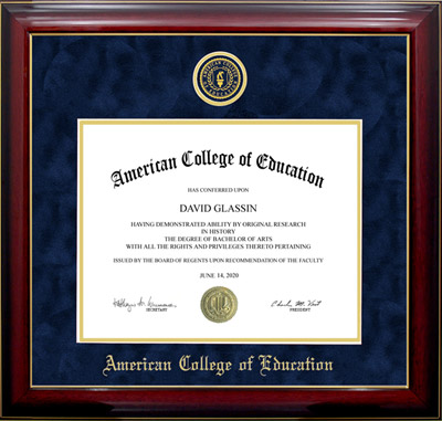 American College of Education Designer Diploma Frame