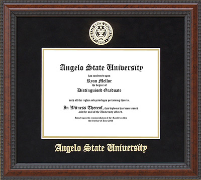 Angelo State University Diploma Frame with School Seal