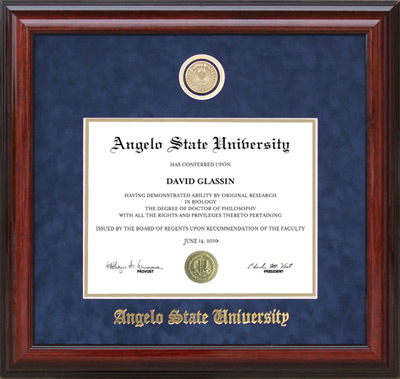 Angelo State Diploma Frame with Opening for Alumni Medallion