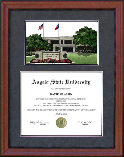 Angelo State University Diploma Frame in Cherry with Lithograph