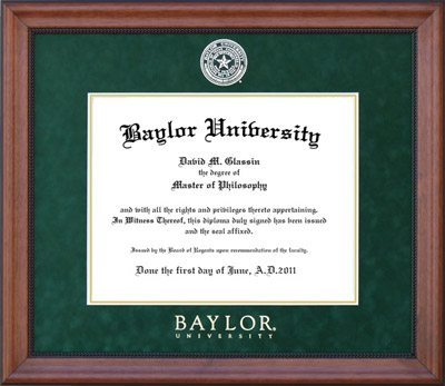 Baylor Diploma Frame with Gold Embossed Seal and Logo