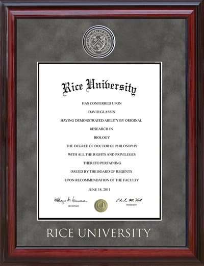 Rice University Medallion Diploma Frame | Frames of Achievement