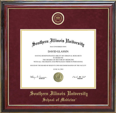 Southern Illinois University School of Medicine Designer Diploma Frame