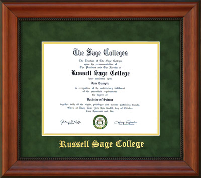 buy product russell sage college diploma frame in green suede - Ecu Diploma Frame