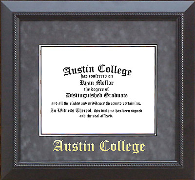 Austin College Diploma Frame in Embossed Gray Suede