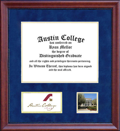 Austin College Diploma Frame in Blue Suede