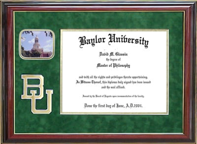 Baylor Diploma Frame with Bevel Cut BU logo & Pat Neff Hall
