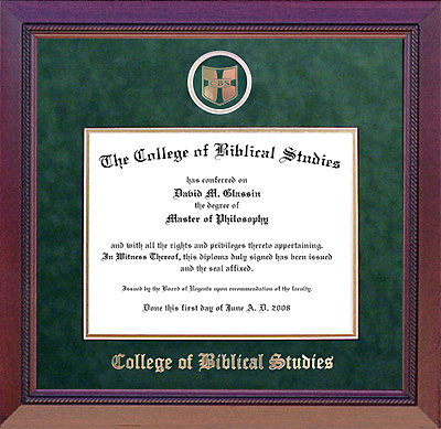 College of Biblical Studies Designer Diploma Frame