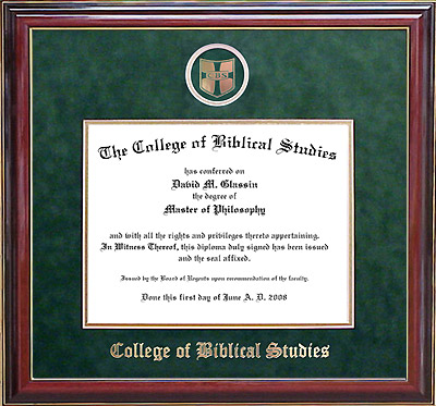 College of Biblical Studies Designer Diploma Frame in Cherry