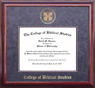 College of Biblical Studies Designer Diploma Frame with Gray Suede Mat