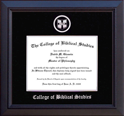 CBS Diploma Frame with Black Suede Mat