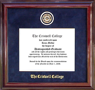 Criswell College Designer Diploma Frame in Marine Blue Suede