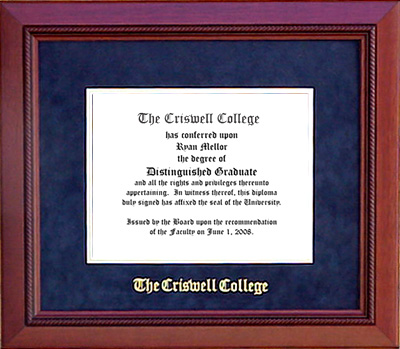 Criswell College Classic Diploma Frame in Marine Blue Suede