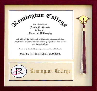 Remington College Diploma Frame with Tassel Display | Frames of ...