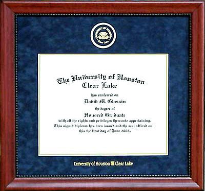 UHCL Designer Diploma Frame in Marine Blue Suede | Frames of Achievement