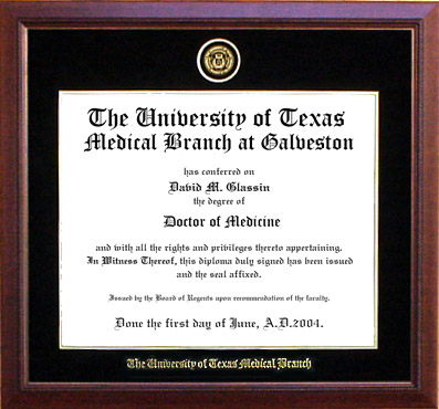 UT Medical Branch Designer Diploma Frame