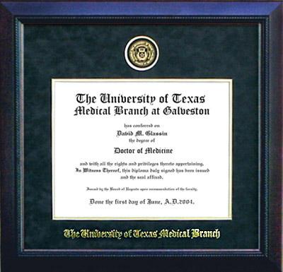 UT Medical Branch Diploma Frame in Carbon Black Suede