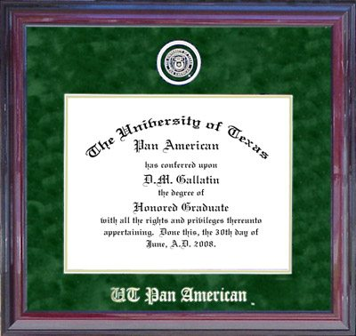 UTPA Designer Diploma Frame in Green Suede
