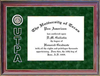 UT Pan American Diploma Frame with Bevel-Cut UTPA Logo