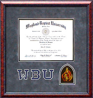 WBU Diploma Frame with Gray Suede Mat, Logo and Flame