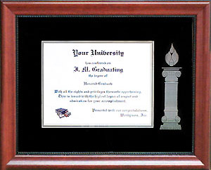 WBU Diploma Frame with Etched Column and Flame
