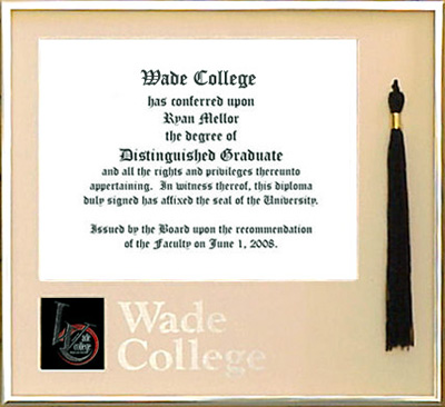Wade College Tassel Diploma Frame