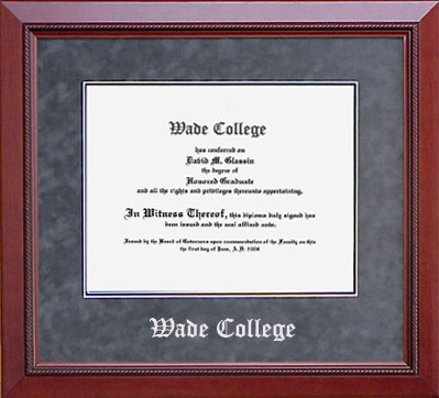 Wade College Classic Diploma Frame in Grey Suede