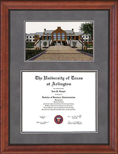 UTA Diploma Frame with Campus Lithograph in Walnut