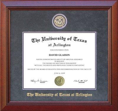 UT Arlington Diploma Frame in Embossed Grey Suede