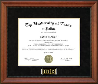 UTD Diploma Frame with Black Suede Mat