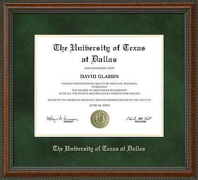 UTD Diploma Frame with Green Suede Mat