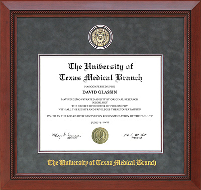 UT Medical Branch Diploma Frame in Grey Suede