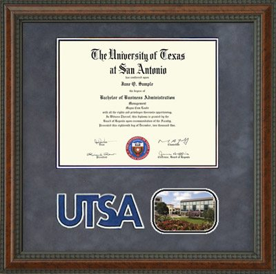 UTSA Diploma Frame with Campus Image