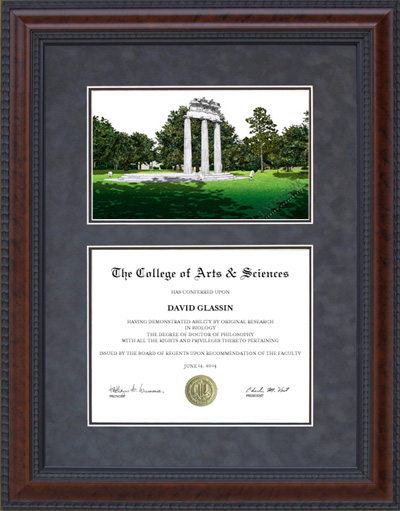 Diploma Frame with University of South Alabama (USA) Campus Lithograph