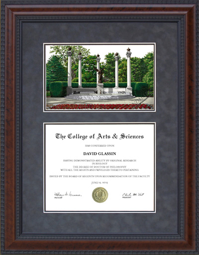 Diploma Frame with Licensed Ball State Campus Lithograph