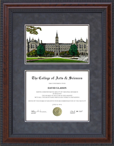 Diploma Frame with Licensed Georgetown University Campus Lithograph ...