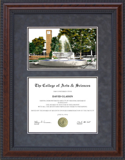 Diploma Frame with Licensed Fresno State Campus Lithograph