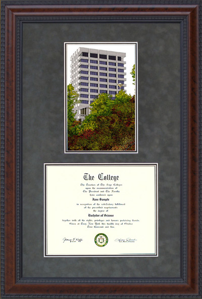 Cal State East Bay (CSUEB) Diploma Frame with Campus Lithograph