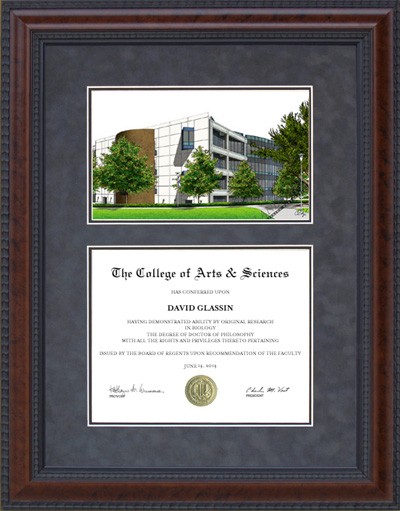 Diploma Frame with Licensed Cal State Fullerton Campus Lithograph