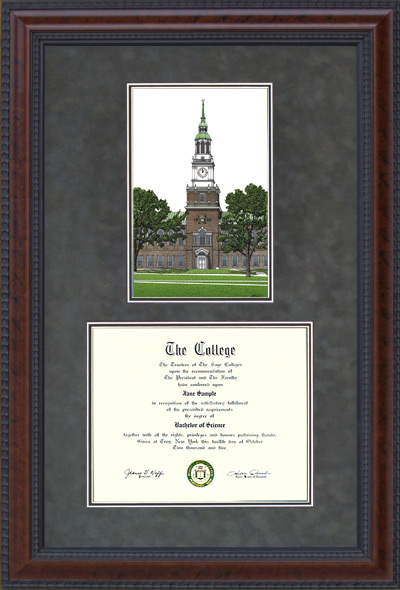 Dartmouth Document Frame with Campus Lithograph