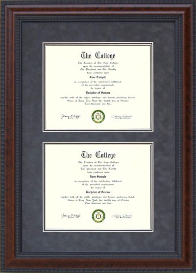 Burl Hardwood Double Diploma Frame | Frames of Achievement