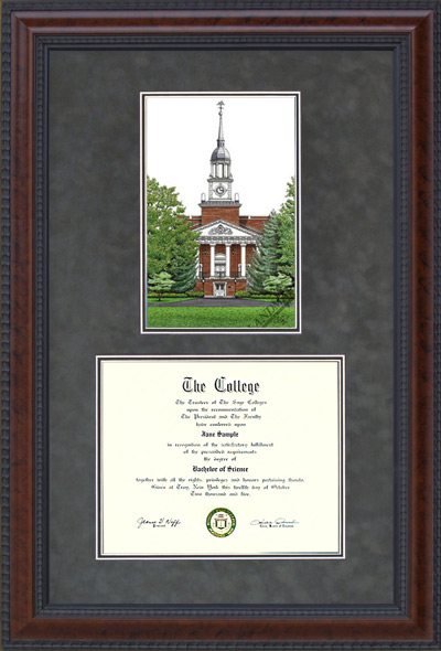 Hanover College Document Frame with Campus Lithograph