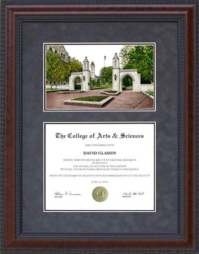 Diploma Frame with Licensed Indiana University (IU) Campus Lithograph