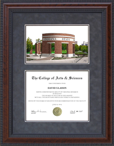 Diploma Frame with Indiana State University (ISU) Campus Lithograph