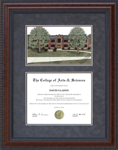 Diploma Frame with Licensed Rose-Hulman Campus Lithograph