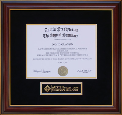 Austin Seminary Diploma Frame