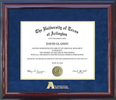 UT Arlington Diploma Frame with Embossed Logo